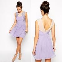 Cheap china wholesale clothing crochet trim chiffon skater dress
