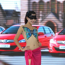 Specialized Cars Auto Show Body Painting T Stage Show Female Body Painting Multicolor Matte and Neon Effect Face Body Painting