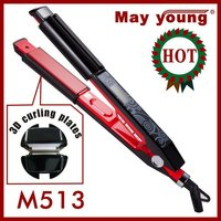 M513 Best seller 3D 2 in 1 LCD hair iron