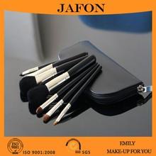 China Manufacturers 7PCS Goat Hair Makeup Brush Set Kit With PU Zipper Case Bag
