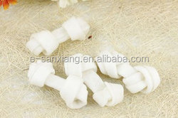 bleached expanded rawhide knotted bone dog chews
