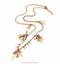 New Crew Factory Designs Inspired Fashion Trending for Women Accessories Brass Spike Tassel Long Chain Pendant Necklace N2366