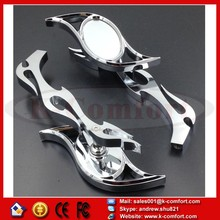 KCM228 Motorcycle for Harley Dyna Wide Glide V-Rod Flame CHROME Billet Custom Running Mirrors