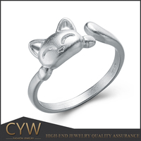 CYW low minimum order quantity small kitten cat gift code S925 silver opening ring