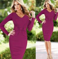 2015 Latest Elegant Long Sleeve Big Bowknot Slim One piece XXL Womens Dress