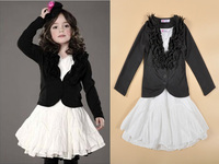 2015 New Girls Clothing Sets Black Outwear + White Party Dress 2 piece suits Baby Kids Clothes Children Clothing vetement fille