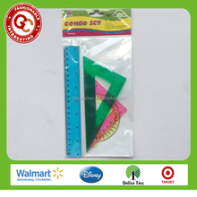 4 pcs colorful clear plastic ruler triangle protractor set