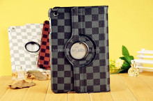 Grid PU Leather Slim Tablet Rotary Protective Cover Case with Stand for iPad (Black)