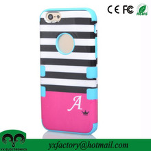 hybrid hard +soft touch three layers pc silicone full painting phone case for cell phone