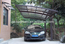 Freesky high quality aluminum profile and polycarbonate roof cover carport/car port, public used car parking carshed