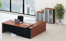 2015 hot sale walnut melamine office desk/executive desk with side desk/table