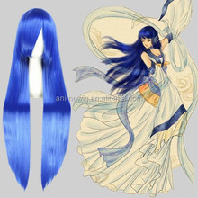 High Quality 100cm Long Straight Lucky Star/Izumi Konata Blue Synthetic Anime Wig Cosplay Hair Wig Party Wig