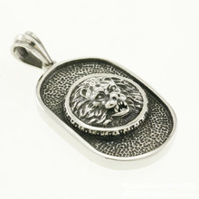 Men's 316L Stainless Steel Lion Dog Tag Pendant Necklace Chain
