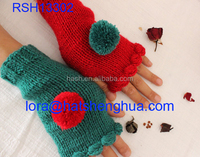 (RSH13302) New Christmas Gloves /Fashion Crochet Christmas Mittens Bright Green Red /Winter Knitted Arm Warmer