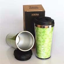2015 Eco-Friendly promotional Double wall travel mug with Paper insert