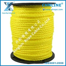 CHNLINE yellow polypropylene cord/PP 3-strand rope/pp twist rope/3 inch diameter twine