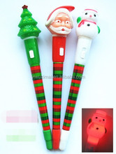 2015 Santa Claus light pen/open turn out the light pen/promotion pen/Father Christmas Ads ball-point pen