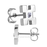 316L Stainless Steel Crystal Ear Studs Custom Ladies Earrings Designs Pictures