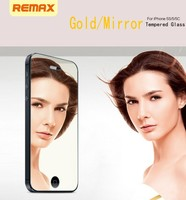 REMAX mobile phone tempered glass protector for iphone 5c/5s/5 screen protector Gold Mirror