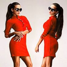 Fashion Stand Neck 3/4 Sleeve Back Zipper Sexy Slim Tight Red Pencil Dress for Women SV020438