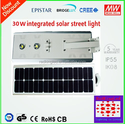 Mono IP65 solar integrated panel led street light with motion sensor