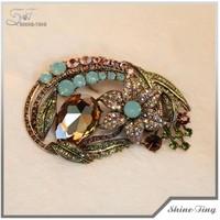 Good design crystal luxury fashion custom brooch wholesale