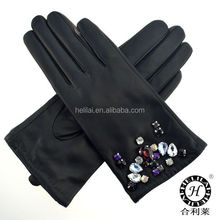 2016 A/W ladies shining jewelled sheep leather gloves