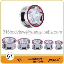 Pentagram zircon with red line plug tunnels ear expander body jewelry