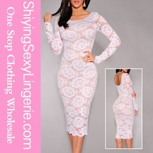 2015 new arrival sexy White Floral Lace Cheap Long Sleeve Midi Dress women hot sex image