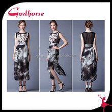 Summer Floral Printing Silk Lady Dress in 2015