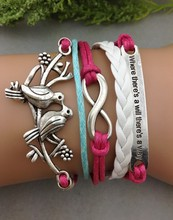 Where there's a wil there's a way,Infinity bracelet,bird Bracelet, Lucky Leaf Bracelet In Silver 1273 Mini order 10$