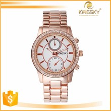 2015 kingsky k8024b# ladies rose gold bracelet large face waterproof wrist watches for women