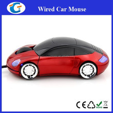 Cheap wired optical car mouse with headlight and custom logo