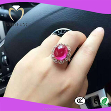 durable 925 silver red zircon wedding ring