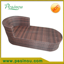 Modern design outdoor garden wicker pe rattan sun lounge with wooden armrest and coffee table