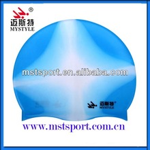 Multi-color waterproof women silicone swimming caps