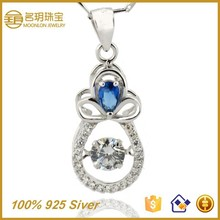 Cheap Bulk!!! 925 Silver Pendant with Blue Stone Fashion Necklace Jewellery