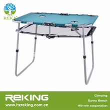 Portable Blue Camping Table with Multiple Cup Holders