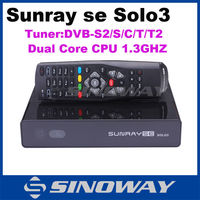 Newest HD Satellite tv receiver Sunray se solo 3 with DVB-S2/C/T/T2 tuner and 1GB RAM 256MB flash sunray solo3