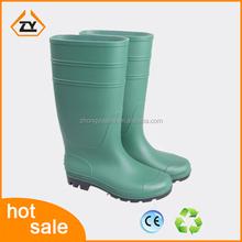 2015 hot sale cheap GREEN garden Safety gumboot waterproof PVC rain boots for Farming,mining ,oil field, construction site,