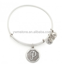 Alex And Ani Initial P Charm Silver Plated Adjustable Wire Bangle Bracelet Wholesale
