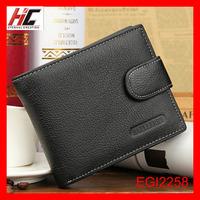 Genuine leather short external trade vintage buckle wallet for men
