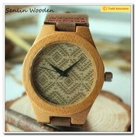 Trade Assurance Bamboo Wooden Watches 2015 New Products Men's With Genuine Leather Band Luxury Wood Watches for Men Best Gift