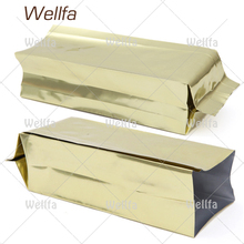 Customized aluminium foil side gusset coffee bag with golden colored