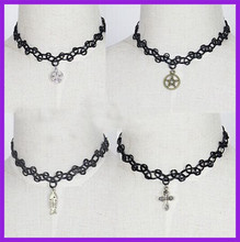 Vintage stretch tattoo necklace/antique choker necklace/handmade tattoo black choker necklace