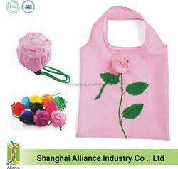 Foldable Rose Shopping Bag / Promotional Rose Folding Nylon Tote Bag