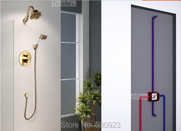 Купить Недавно роскошный комплект для душа кран золотой польский латунь душем с керамика ручной душ одной ручкой настенный
