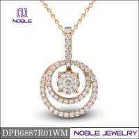 Brand new solid circle 18K rose gold diamond pendant