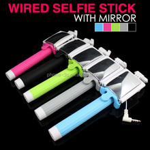 Telescopic Pole Fittings for Mobile Phone Selphie, Cable Connection Selfie Stick with Mirror, Selphie Manopod