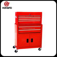 Hongfei Ball Bearing Drawer Steel Tool Cabinet with Two Doors on Wheels Manufacturer with 21 years experience from Jiangsu